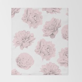 Simply Roses in Pink Flamingo Pink on White Throw Blanket