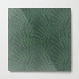 Modern Tropical Leaves Jungle Dark Night Metal Print