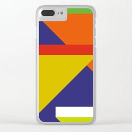 Random colored parallelepipeds flying in a cool blue space Clear iPhone Case