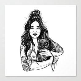 Woman Holding an Owl Canvas Print