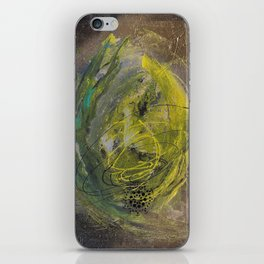 Lime spray painting on canvas, handmade iPhone Skin