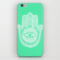 Hamsa lucky green iPhone & iPod Skin