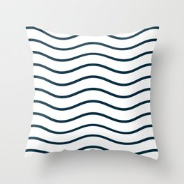 White and blue waves Throw Pillow