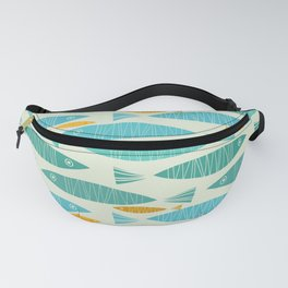 Shimmering Scandinavian Fish In Blue And Gold Pattern Fanny Pack
