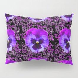 PURPLE PANSY FLOWERS ON BLACK COLOR Pillow Sham