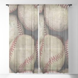 Many Baseballs - Background pattern Sports Illustration Sheer Curtain