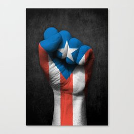Puerto Rican Flag on a Raised Clenched Fist Canvas Print