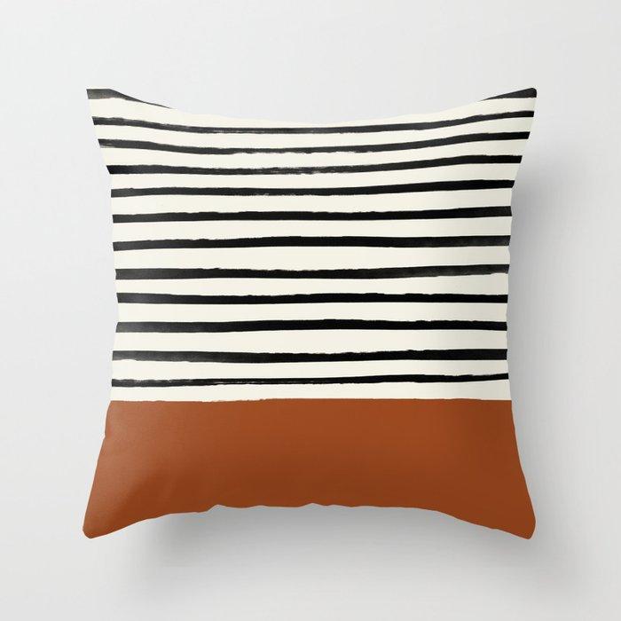 Burnt Orange x Stripes Deko-Kissen