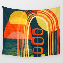 Climbing with the Rainbows, Orig. on Dark Background Wall Tapestry