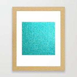 Bright Aqua Blue Glitter Tiffany Framed Art Print