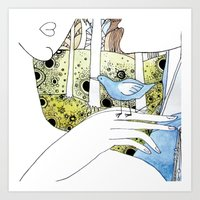 Spring-love-bird-arms-sheandhim Art Print
