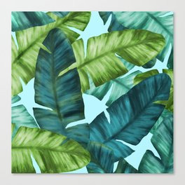 Tropical Banana Leaves Original Pattern Canvas Print