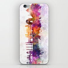 Karachi skyline in watercolor background iPhone Skin