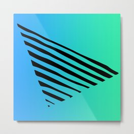 Triangle Line Pattern On Hombre Blue And Green Metal Print