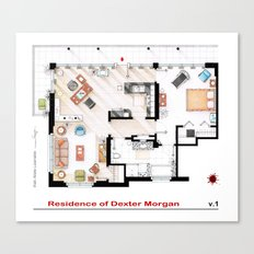 Floorplan of Dexter Morgan's Apartment v.1 Canvas Print