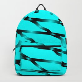 Slanting black lines and rhombuses on light blue with intersection of glare. Backpack