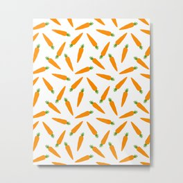 CARROT CARROTS VEGGIE FOOD PATTERN Metal Print