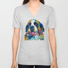 Colorful Saint Bernard Dog by Sharon Cummings Unisex V-Neck