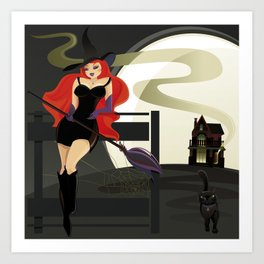 Halloween. Witch and Black Cat. Art Print