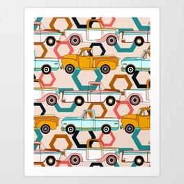 Summer Vintage Trucks Art Print