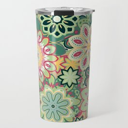 Retro kaleidoscope flower background pattern. Boho mandala ornate. Travel Mug
