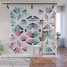 Colourful Floral Zenspire Swirl Shell Design Wall Mural