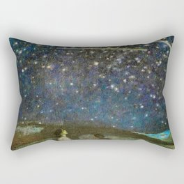 Shooting Stars, Summer Night by the Sea, Watch Hill, Rhode Island landscape by Franz Von Stuck Rectangular Pillow