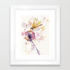 Dragonfly & Dandelion Dance Framed Art Print