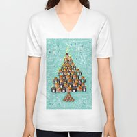 christmas tree V-neck T-shirts featuring Christmas Tree by nabisori33(walking bear)