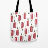 sriracha Tote Bags featuring food stuffs by nosniknej