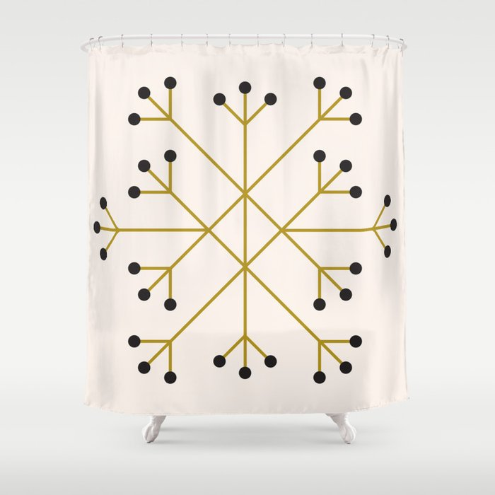 Mod Snowflake Olive Shower Curtain
