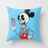 mickey Throw Pillows featuring Mickey Bones by Alejandro Giraldo