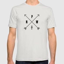 PNW Pacific Northwest Compass - Black on White Minimal T-shirt