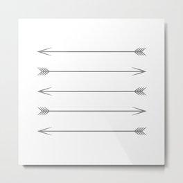 Minimal Dark Gray Arrows Metal Print