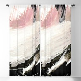 Crash: an abstract mixed media piece in black white and pink Blackout Curtain
