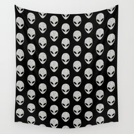 Glitter Grey Aliens Wall Tapestry