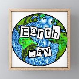 Earth Day Globe Framed Mini Art Print