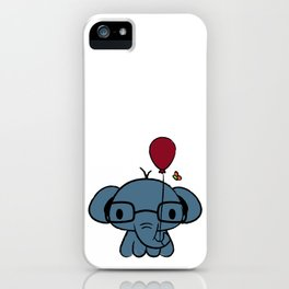 cute elephant with glasses holding a balloon iPhone Case