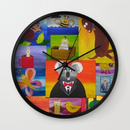 animal collage cushion cover for present Wall Clock