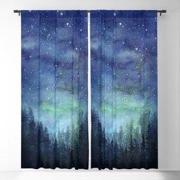 Watercolor Galaxy Nebula Northern Lights Painting Blackout Curtain