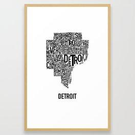 Detroit Typography map poster - White Framed Art Print