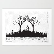 Edgar Allan Poe Black and White Illustrated Quote  Art Print