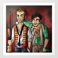 grantaire Art Prints featuring reverse25th!Enjolras and Grantaire by Fra França