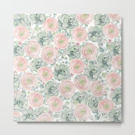 Flowers And Succulents White  #buyart #decor #society6 Metal Print