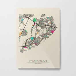 Colorful City Maps: Staten Island, New York Metal Print