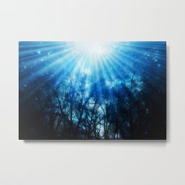 There Is Hope In the Light : Black Trees Blue Space Metal Print