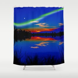 North light over a lake Shower Curtain