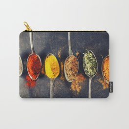 Colorful spices in metal spoons Carry-All Pouch