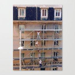 Men On Scaffolding Canvas Print