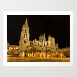 Church Spain Burgos temple night time Cities Night Temples Art Print